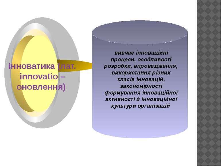 вивчає інноваційні процеси, особливості розробки, впровадження, використання ...