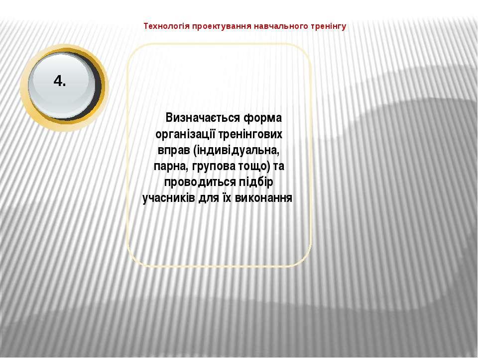 Технологія проектування навчального тренінгу Визначається форма організації т...