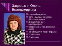 Задорожня Олена Володимирівна старший викладач Коло наукових інтересів: філос...