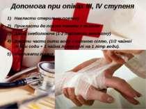 Допомога при опіках ІІІ, ІV ступеня Накласти стерильну повязку Прикласти до п...
