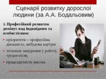 Сценарії розвитку дорослої людини (за А.А. Бодальовим) 3. Професійний розвито...