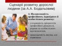 Сценарії розвитку дорослої людини (за А.А. Бодальовим) 4. Збалансованість про...