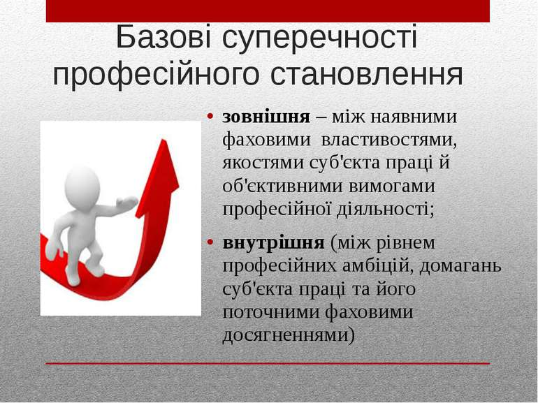 Базові суперечності професійного становлення зовнішня – між наявними фаховими...