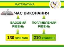 МАТЕМАТИКА БАЗОВИЙ РІВЕНЬ ПОГЛИБЛЕНИЙ РІВЕНЬ ЧАС ВИКОНАННЯ 130 хвилин 210 хвилин