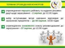 ТЕРМІНИ ПРОВЕДЕННЯ КОНКУРСІВ оприлюднення першого рейтингу та надання рекомен...