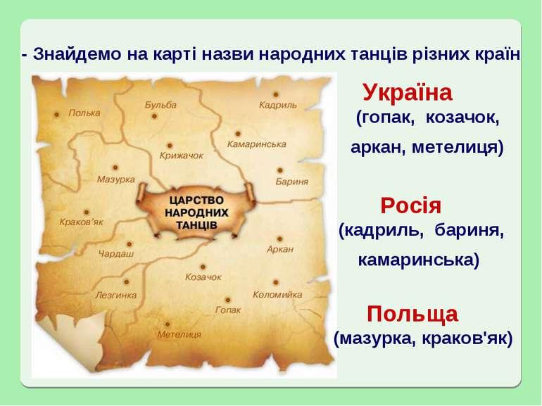 - Знайдемо на карті назви народних танців різних країн Україна Росія Польща (...