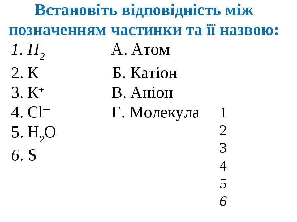 Встановіть відповідність між позначенням частинки та її назвою: 1. Н2 А. Атом...