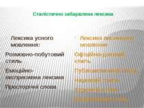 Стилістично забарвлена лексика Лексика усного мовлення: Розмовно-побутовий ст...