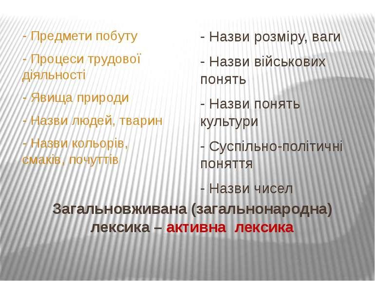 Загальновживана (загальнонародна) лексика – активна лексика - Предмети побуту...