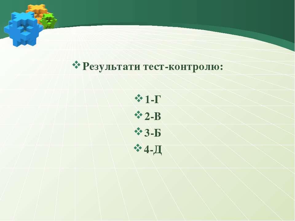 Результати тест-контролю: 1-Г 2-В 3-Б 4-Д