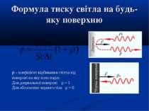 Формула тиску світла на будь-яку поверхню ρ - коефіцієнт відбивання світла ві...