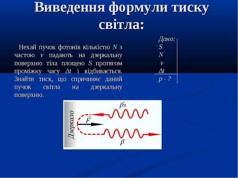 Виведення формули тиску світла: Нехай пучок фотонів кількістю N з частою ν па...