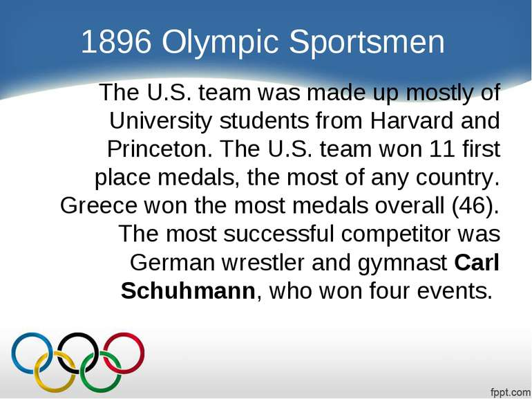 1896 Olympic Sportsmen The U.S. team was made up mostly of University student...