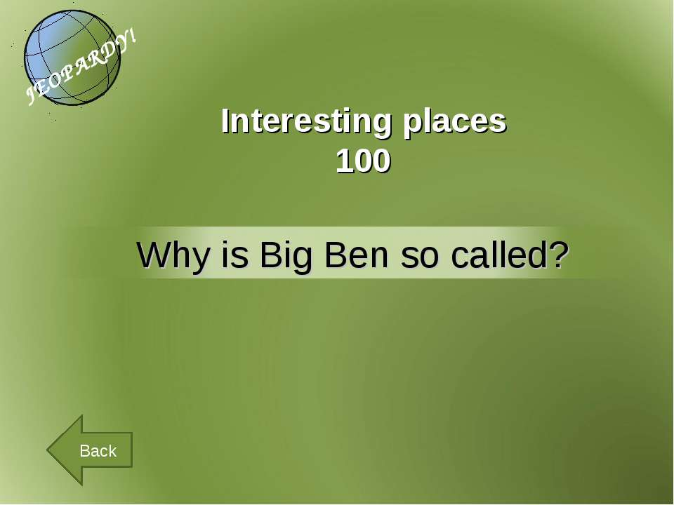 Interesting places 100 Back
