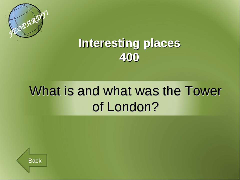 Interesting places 400 Back