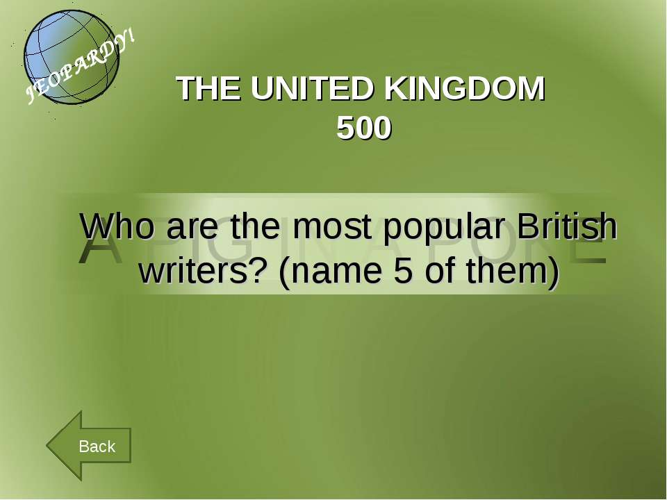 THE UNITED KINGDOM 500 Back