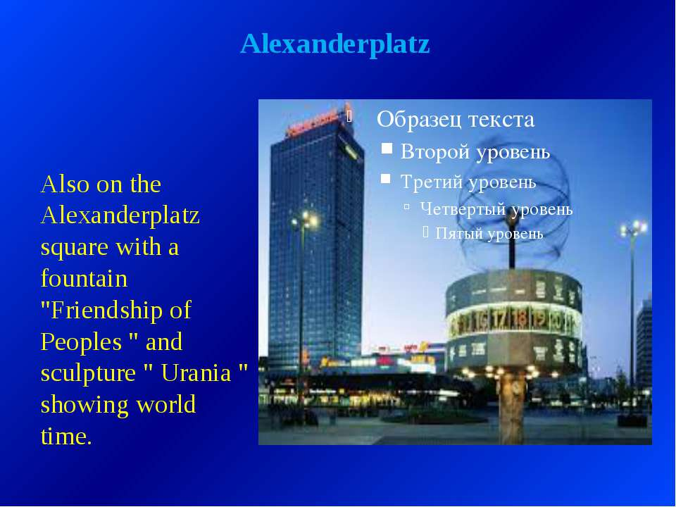 "Alexanderplatz Also on the Alexanderplatz square with a fountain ""Friendship ..."