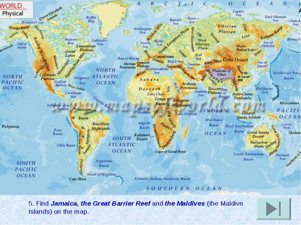 5. Find Jamaica, the Great Barrier Reef and the Maldives (the Maldive Islands...