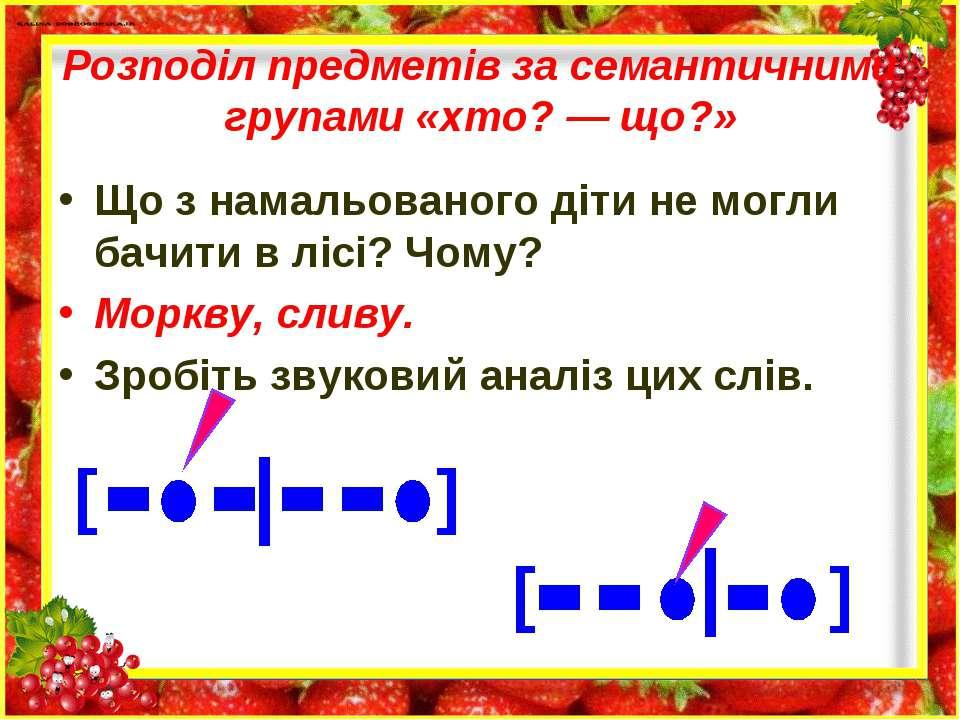Розподіл предметів за семантичними групами «хто? — що?» Що з намальованого ді...