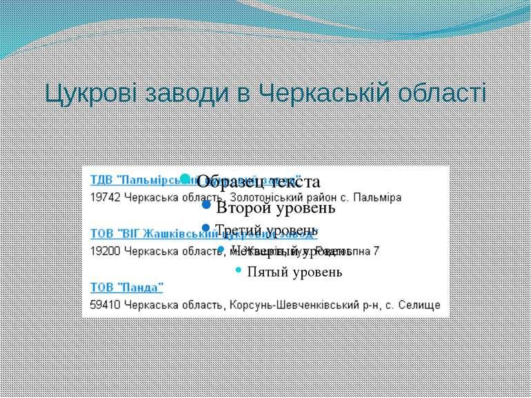 Цукрові заводи в Черкаській області