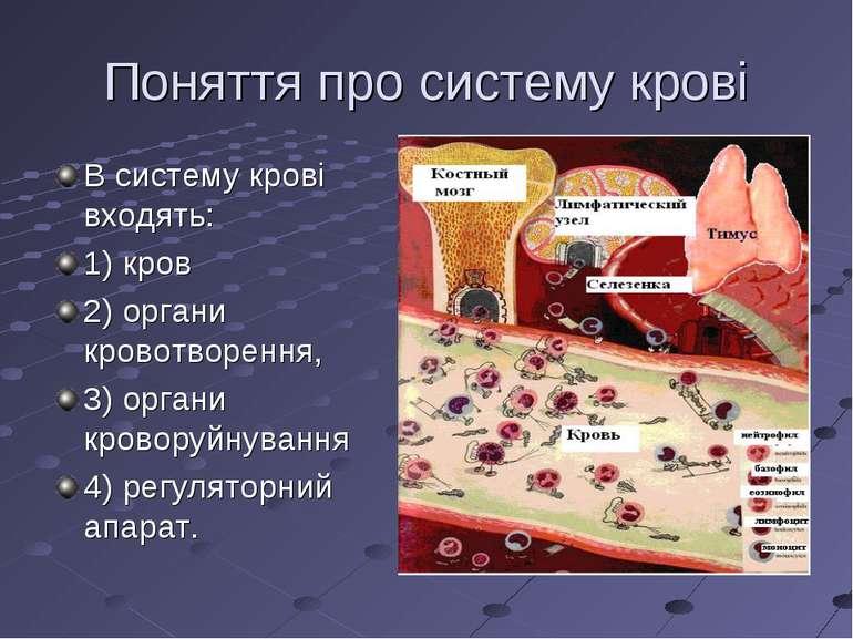 Поняття про систему крові В систему крові входять: 1) кров 2) органи кровотво...