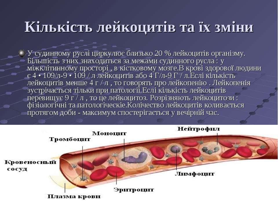 Кількість лейкоцитів та їх зміни У судинному руслі циркулює близько 20 % лейк...