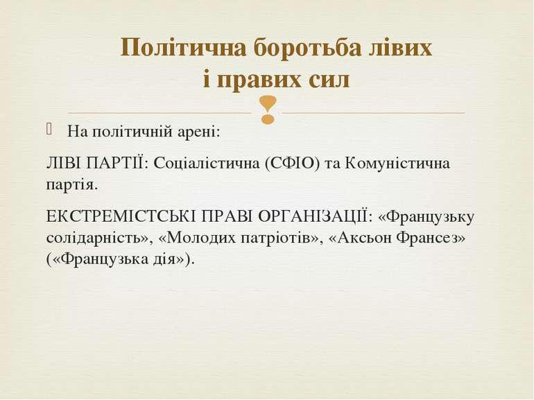 На політичній арені: ЛІВІ ПАРТІЇ: Соціалістична (СФІО) та Комуністична партія...