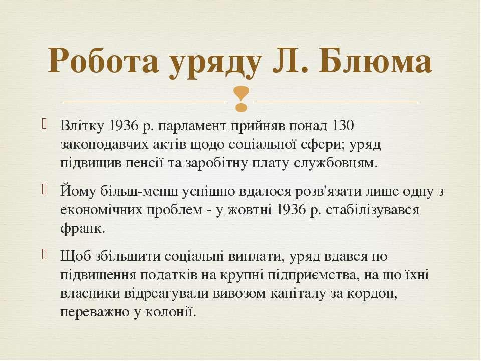 Влітку 1936 р. парламент прийняв понад 130 законодавчих актів щодо соціальної...