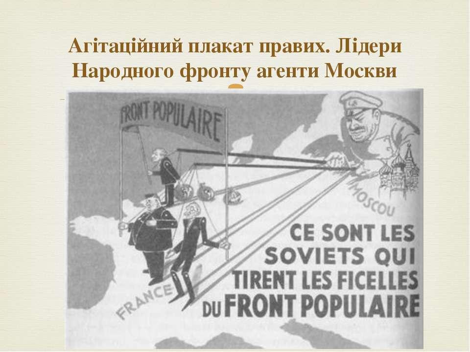 Агітаційний плакат правих. Лідери Народного фронту агенти Москви