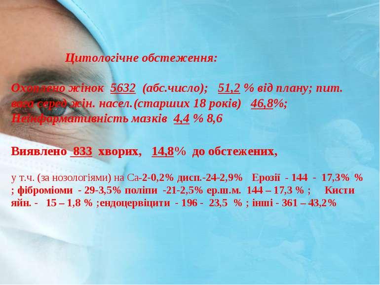 Цитологiчне обстеження: Охоплено жiнок 5632 (абс.число); 51,2 % від плану; пи...