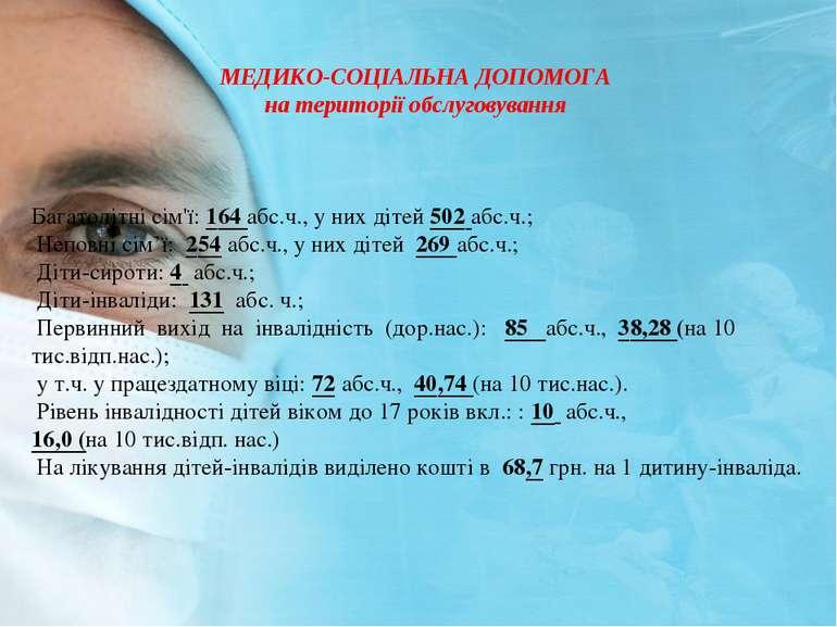 МЕДИКО-СОЦIАЛЬНА ДОПОМОГА на територiї обслуговування Багатодiтнi сiм'ї: 164 ...