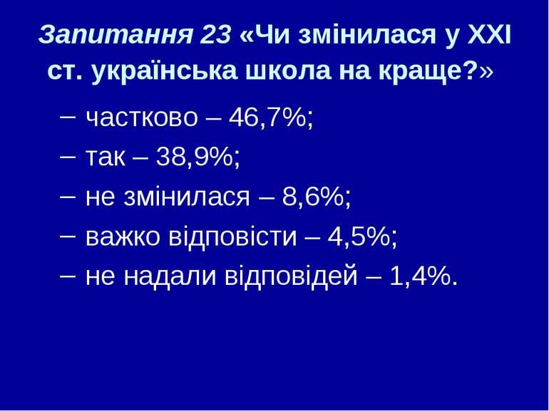 Запитання 23 «Чи змінилася у ХХІ ст. українська школа на краще?» частково – 4...