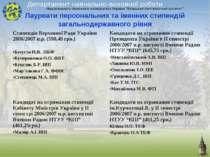 Лауреати персональних та іменних стипендій загальнодержавного рівня