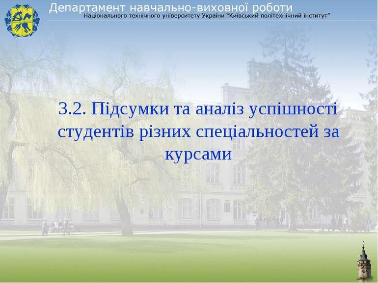 3.2. Підсумки та аналіз успішності студентів різних спеціальностей за курсами
