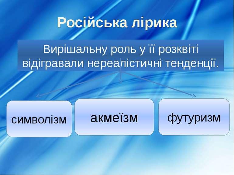 Російська лірика Вирішальну роль у її розквіті відігравали нереалістичні тенд...