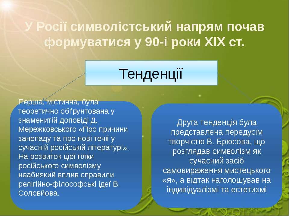 У Росії символістський напрям почав формуватися у 90-і роки XIX ст. Тенденції...