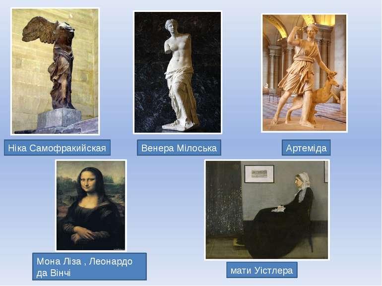 Мона Ліза , Леонардо да Вінчі Венера Мілоська Ніка Самофракийская мати Уістле...