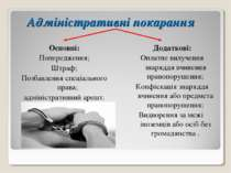 Адміністративні покарання Основні: Попередження; Штраф; Позбавлення спеціальн...