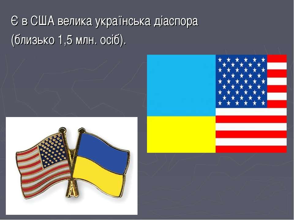 Є в США велика українська діаспора (близько 1,5 млн. осіб).
