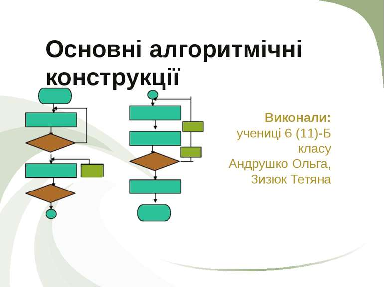 Основні алгоритмічні конструкції Виконали: учениці 6 (11)-Б класу Андрушко Ол...