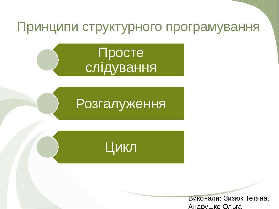 Принципи структурного програмування Виконали: Зизюк Тетяна, Андрушко Ольга
