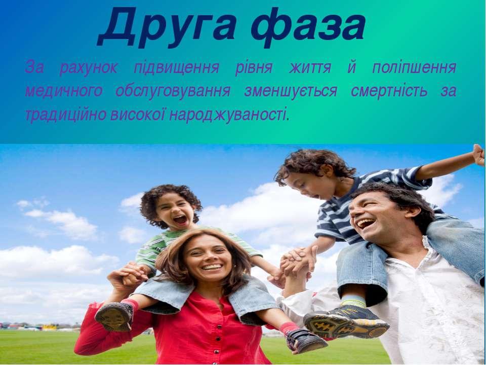 Друга фаза За рахунок підвищення рівня життя й поліпшення медичного обслугову...
