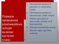 Порядок проведення реанімаційних заходів включає наступні етапи: Визначення н...