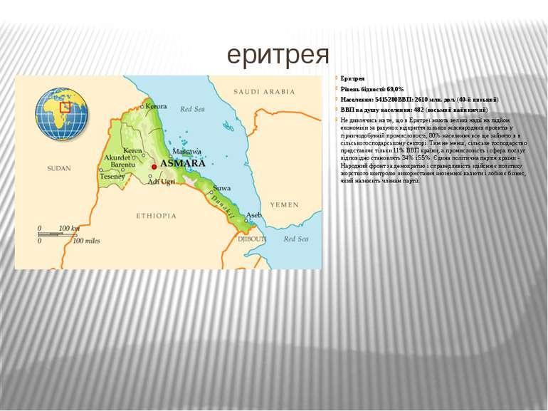 еритрея Еритрея Рівень бідності: 69,0% Населення: 5415280ВВП: 2610 млн. дол. ...