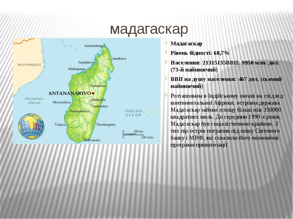 мадагаскар Мадагаскар Рівень бідності: 68,7% Населення: 21315135ВВП: 9950 млн...