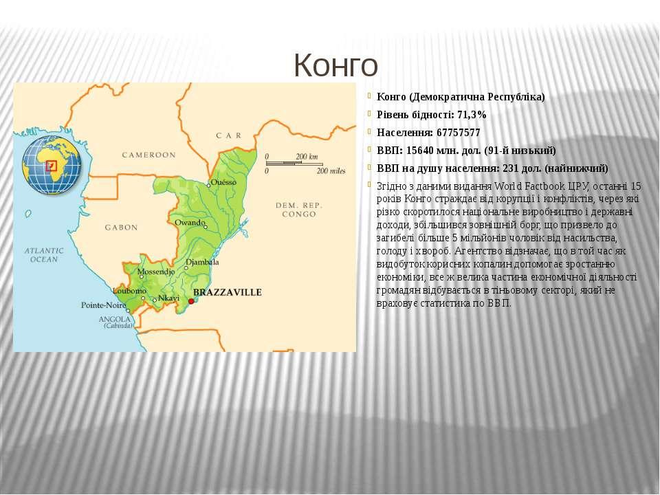 Конго Конго (Демократична Республіка) Рівень бідності: 71,3% Населення: 67757...