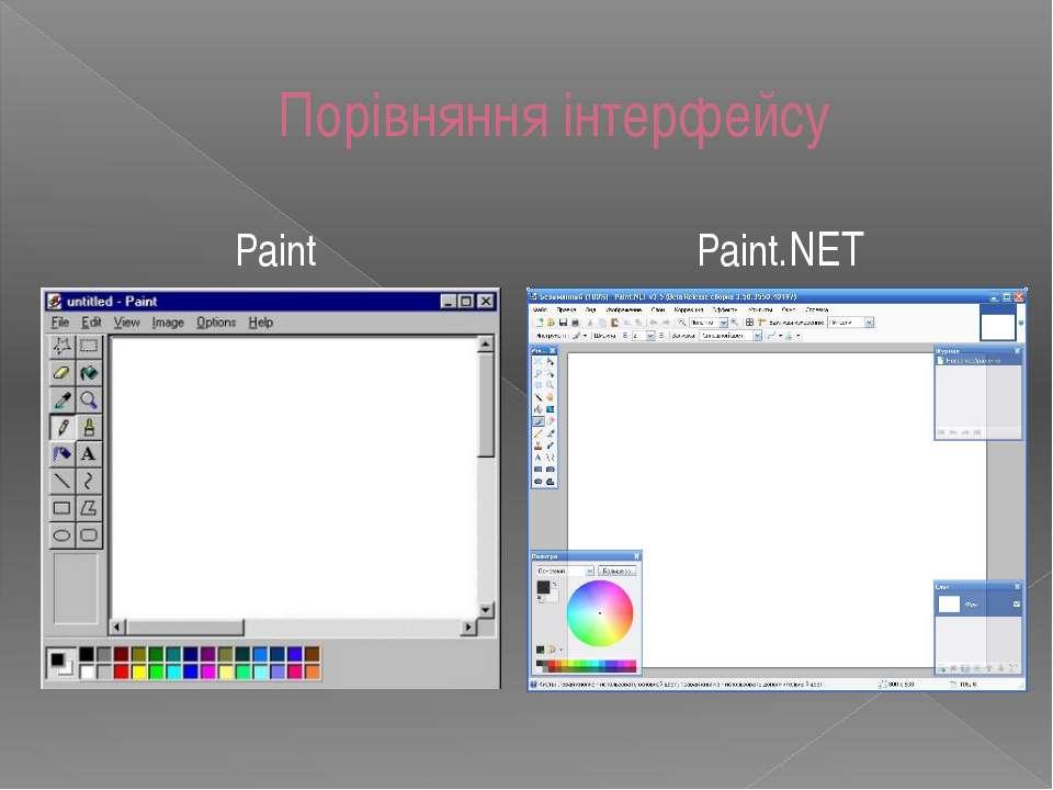 Порівняння інтерфейсу Paint Paint.NET