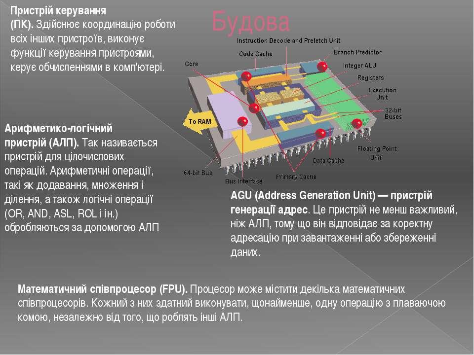 Будова Пристрій керування (ПК).Здійснює координацію роботи всіх інших пристр...