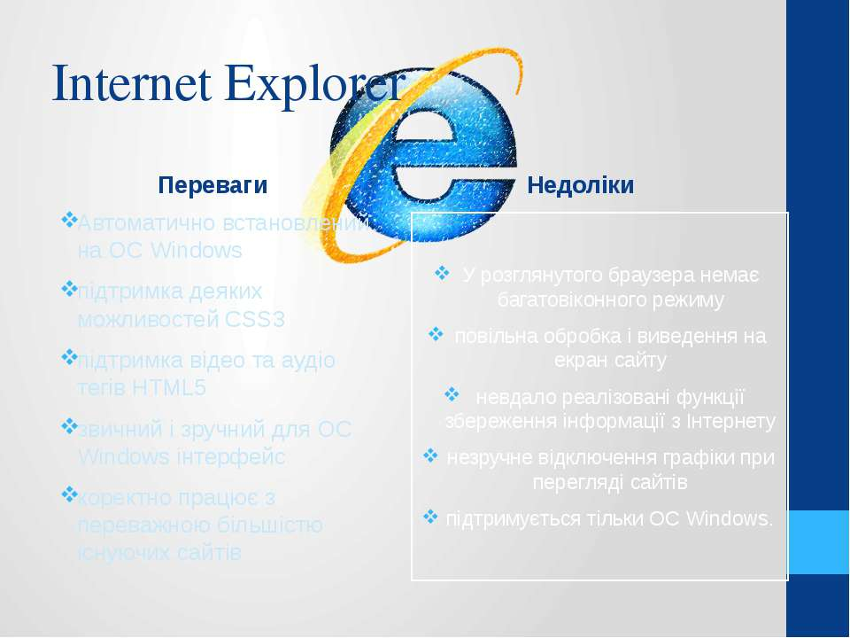 Internet Explorer Переваги Автоматично встановлений на ОС Windows підтримка д...