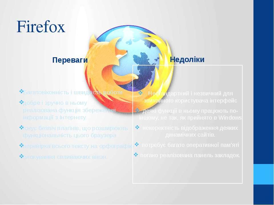 Firefox Переваги Багатовіконність і швидкість роботи добре і зручно в ньому р...